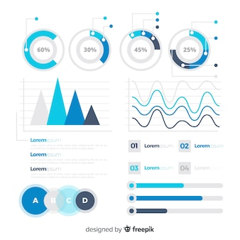 Modelo de estatísticas plana infográfico