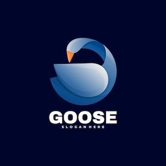 Modelo de estilo colorido com gradiente de ganso de ilustração de logotipo