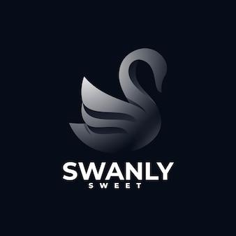 Modelo de estilo colorido de gradiente de cisne de ilustração de logotipo