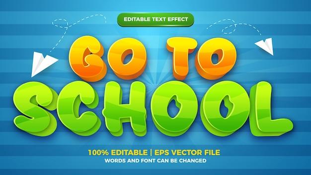 Modelo de estilo de efeito de texto editável de jogo de quadrinhos para ir para a escola