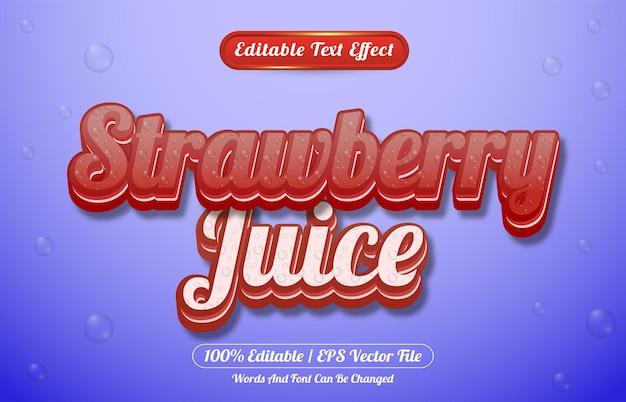 Modelo de estilo de efeito de texto editável de suco de morango