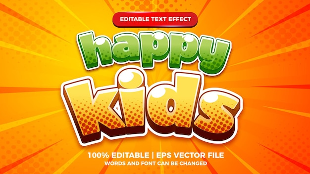 Modelo de estilo de efeito de texto editável em quadrinhos de desenhos animados de crianças felizes