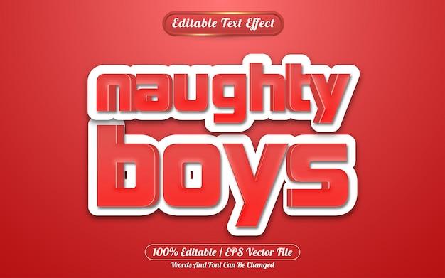 Modelo de estilo de efeito de texto editável naughty boys