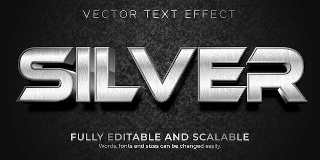Modelo de estilo de efeito de texto metálico prateado