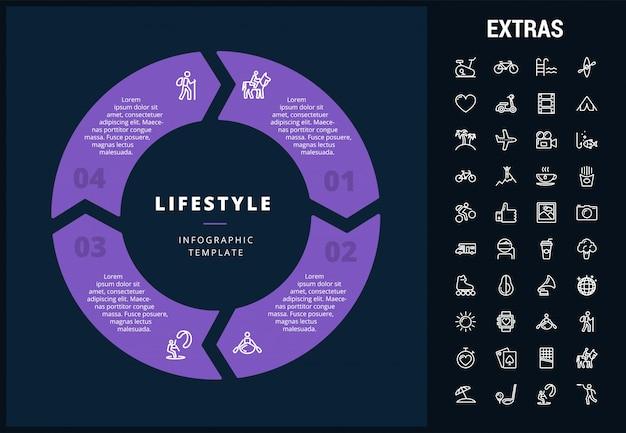 Modelo de estilo de vida infográfico, elementos e ícones