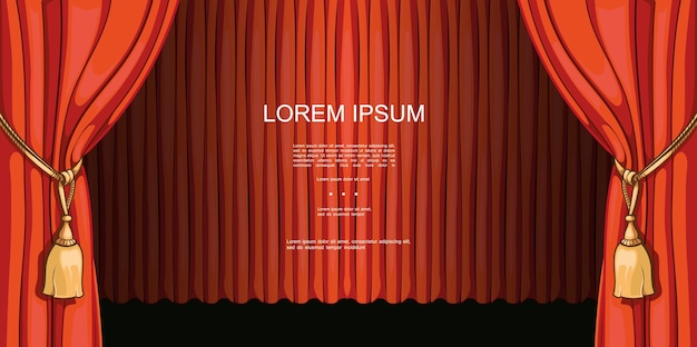 Modelo de estreia de programas de teatro e entretenimento com lindas cortinas vermelhas abertas e fechadas em ilustração de estilo cartoon