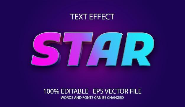 Modelo de estrela de efeito de texto editável
