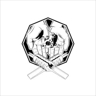 Modelo de estúdio de tatuagem de logotipo em preto e branco