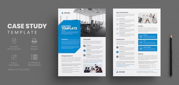 Modelo de estudo de caso de negócios com design de folheto criativo