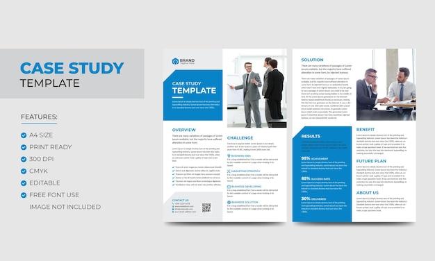Modelo de estudo de caso negócios modernos corporativos folheto duplo e modelo de pôster design de livreto colorido