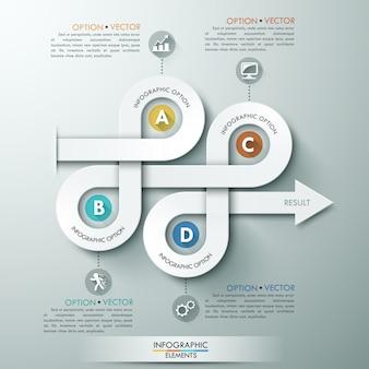 Modelo de etapa de negócios de diagrama de seta 3d