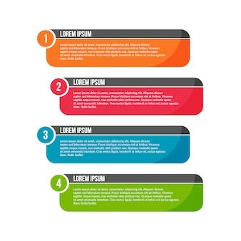 Modelo de etapas coloridas infográfico