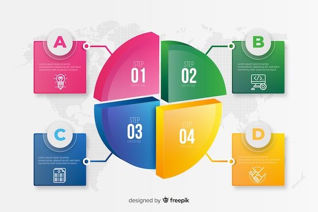 Modelo de etapas de infográfico colorido