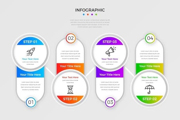 Modelo de etapas de infográfico de gradiente