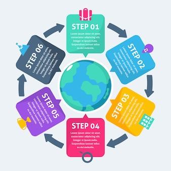 Modelo de etapas de infográfico de negócios