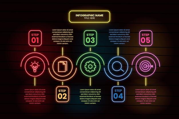 Modelo de etapas de infográfico de néon