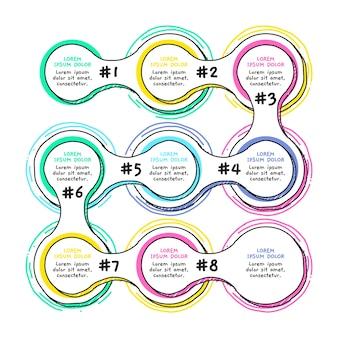 Modelo de etapas de infográfico desenhado mão