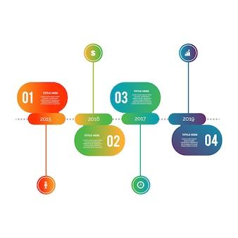 Modelo de etapas de infográfico design plano