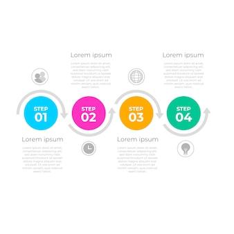 Modelo de etapas de infográfico em design plano