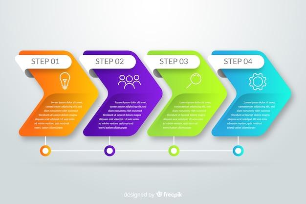 Modelo de etapas de infográfico gradiente