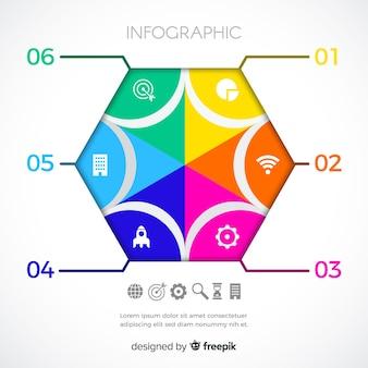 Modelo de etapas de infográfico hexágono liso