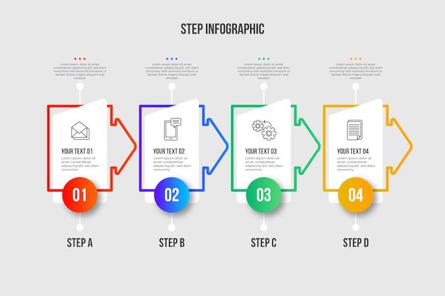 Modelo de etapas de infográfico moderno