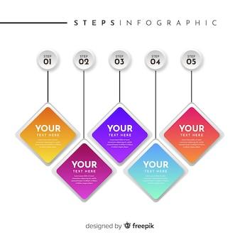 Modelo de etapas de infográficos de negócios plana