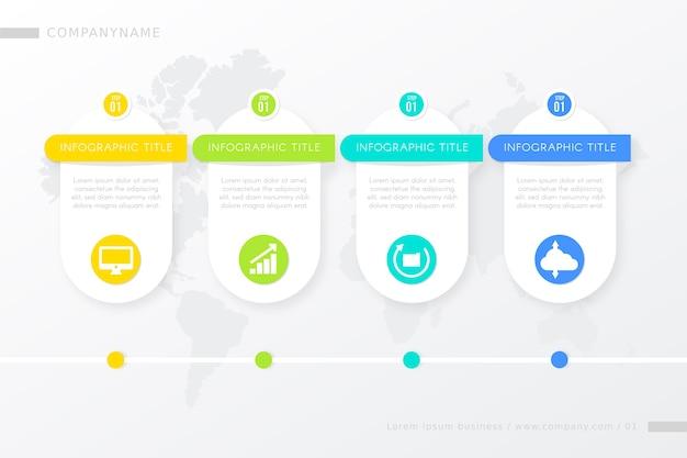 Modelo de etapas infográfico com progresso