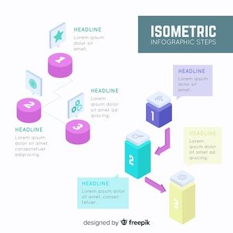 Modelo de etapas infográfico isométrica