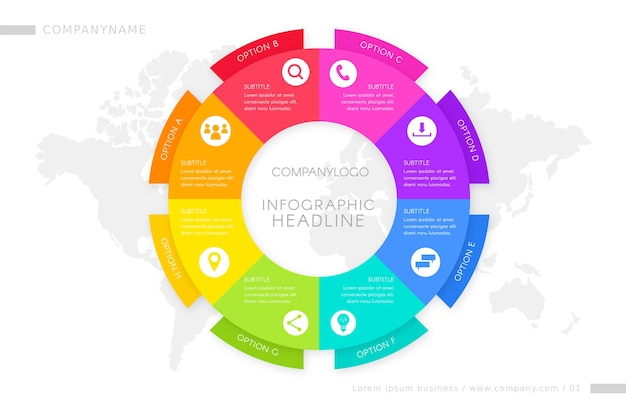 Modelo de etapas para infográfico