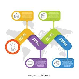 Modelo de etapas planas de infográficos