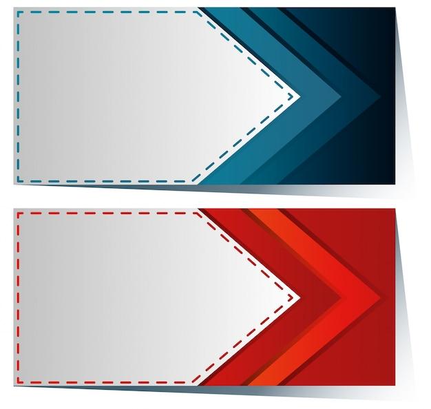 Modelo de etiqueta com seta azul e vermelha