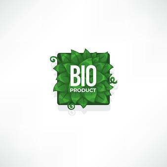 Modelo de etiqueta de bioproduto com folhas verdes e composição de letras