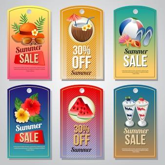 Modelo de etiqueta de férias de verão colorido conjunto com ilustração em vetor objeto verão