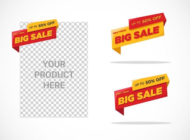 Modelo de etiqueta de grande venda plana