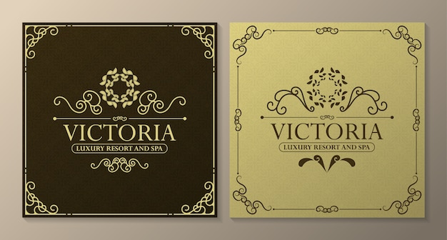 Modelo de etiqueta de hotel de luxo. ilustração de quadros de ornamento real vintage na moda.