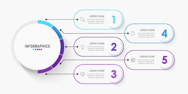 Modelo de etiqueta de infográfico com ícones e opções ou etapas.