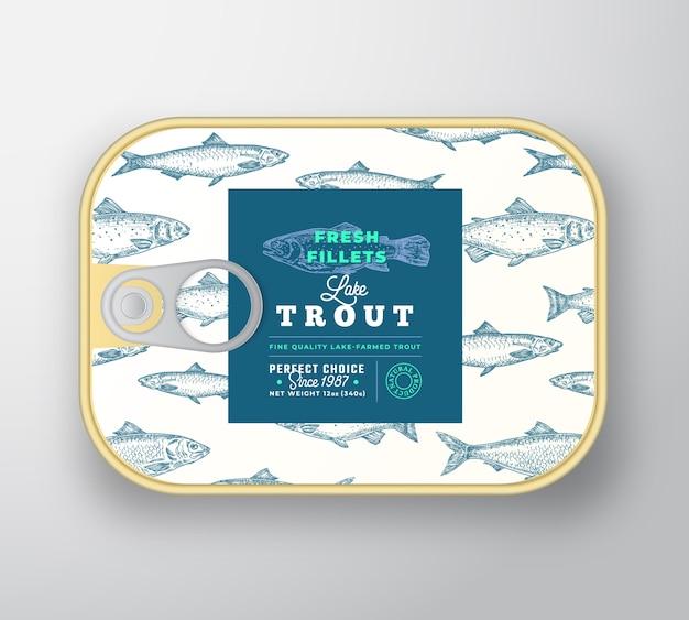 Modelo de etiqueta de peixe enlatado. recipiente de alumínio de peixe abstrato com tampa da etiqueta.