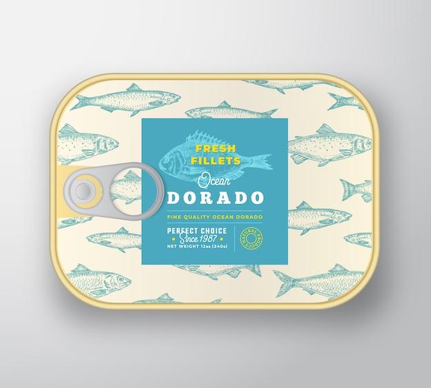 Modelo de etiqueta de peixe enlatado.