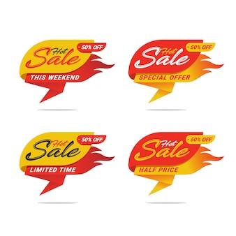 Modelo de etiqueta de preço com desconto de venda quente.