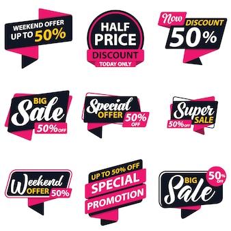 Modelo de etiqueta de promoção de venda
