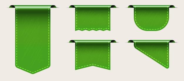 Modelo de etiqueta de tecido de marca verde com conjunto de espaço de cópia vazio.