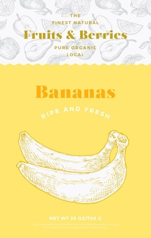 Modelo de etiqueta padrão de frutas e bagas. layout de design de embalagem de vetor abstrato. banner de tipografia moderna com fundo de silhueta de esboço de bananas desenhado à mão. isolado.