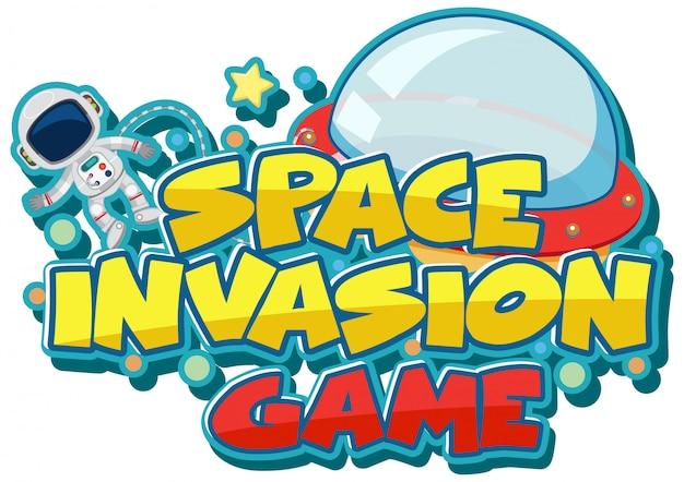 Modelo de etiqueta para jogo de invasão espacial da palavra