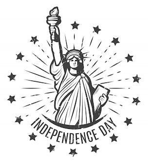 Modelo de etiqueta redonda do dia da independência vintage
