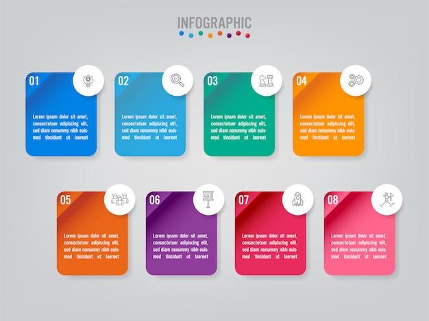 Modelo de etiquetas de infográfico de negócios com opção