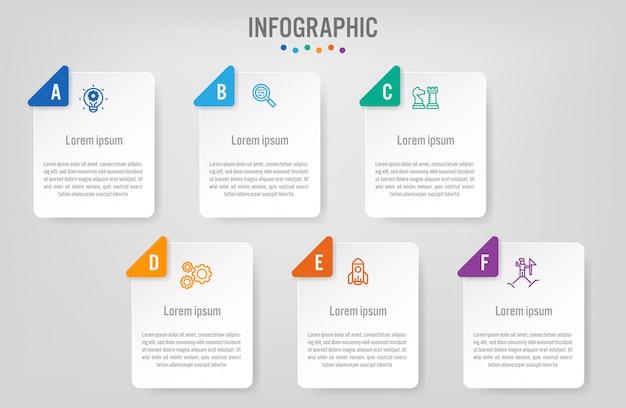 Modelo de etiquetas de infográfico de negócios com opções