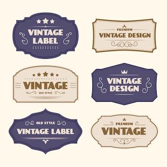 Modelo de etiquetas vintage estilo papel