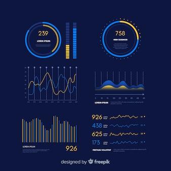 Modelo de evolução do painel infográfico gradiente