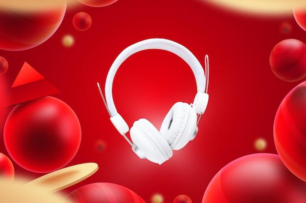 Modelo de exibição com fones de ouvido
